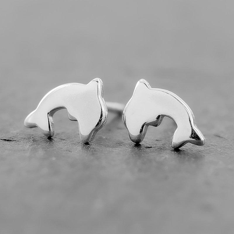 Dolphin-Earrings-Flat-Studs