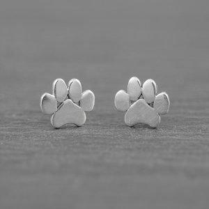 Paw Print Earrings, Sterling Silver Stud Earrings, Animal Jewelry, Cat & Dog Print Dainty Earrings