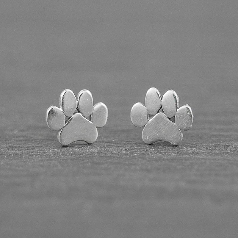 Paw-animal-print-sterling-silver-stud-earrings