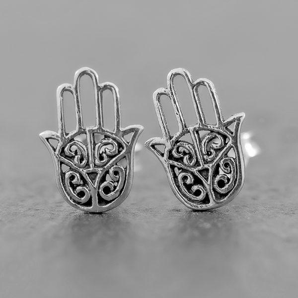 Hamsa Hand Earrings Dainty Open Studs
