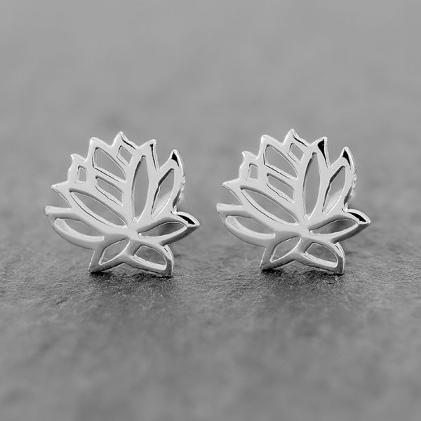 Lotus Flower Earrings Dainty Studs
