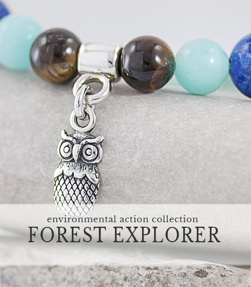 Owl Charm bracelet gives back to charity, Artisan Sterling and Gemstone Jewelry,