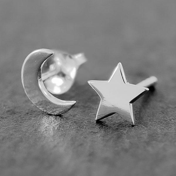 Star Moon Earrings Sterling Studs