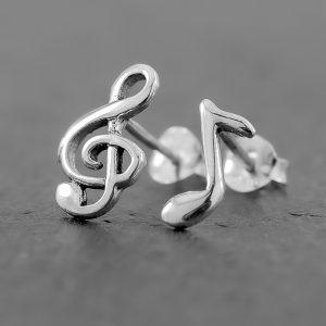 Treble Clef Note Earrings Stud