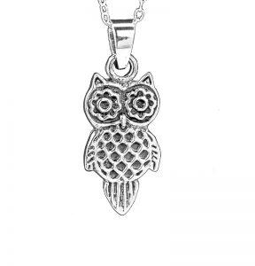 Sterling Silver Owl Pendant, Artisan Sterling and Gemstone Jewelry, Sterling Silver Owl Pendant