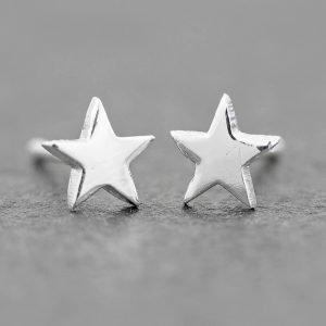 Star earrings dainty sterling silver 6mm
