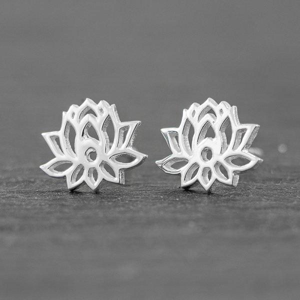 Lotus Earrings Sterling Silver Stud Earrings, Dainty Earrings, Lotus Flower Yoga Studs NEW design!