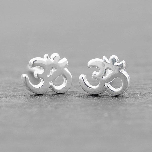 OM earrings sterling silver studs yoga jewelry st