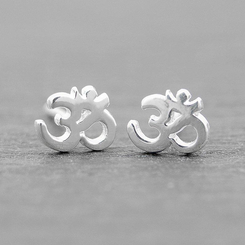 Om-Earrings-Sterling-Silver-Studs