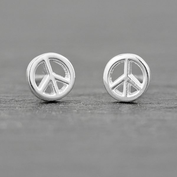 peace sign earrings tiny studs sterling silver 5.7mm