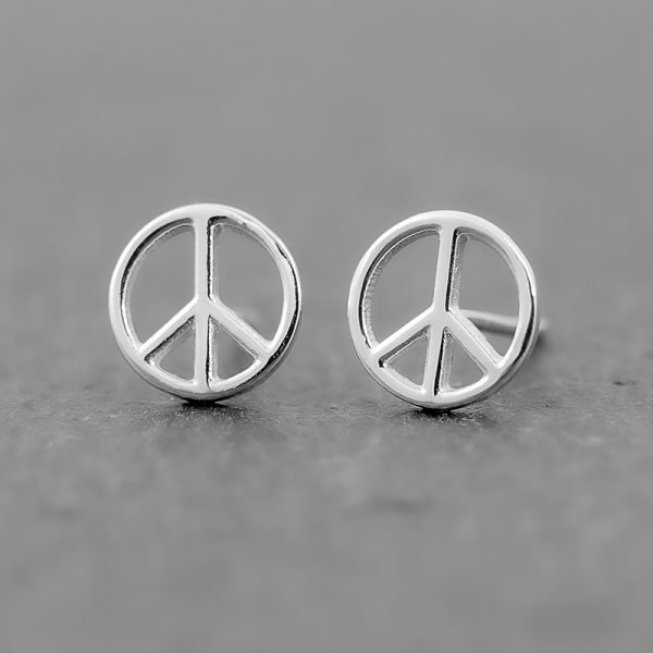 peace sign earring studs sterling silver 8mm