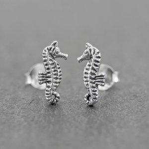 Seahorse Earrings Sterling Silver Studs