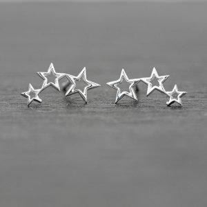 Triple Star Earrings Dainty Sterling Silver Studs 13mm