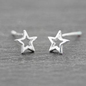 Star Earrings Open Dainty Sterling Silver Studs 5.7mm