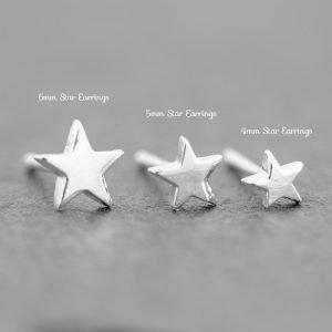 Star earrings dainty sterling silver 6mm, 5mm, 4mm